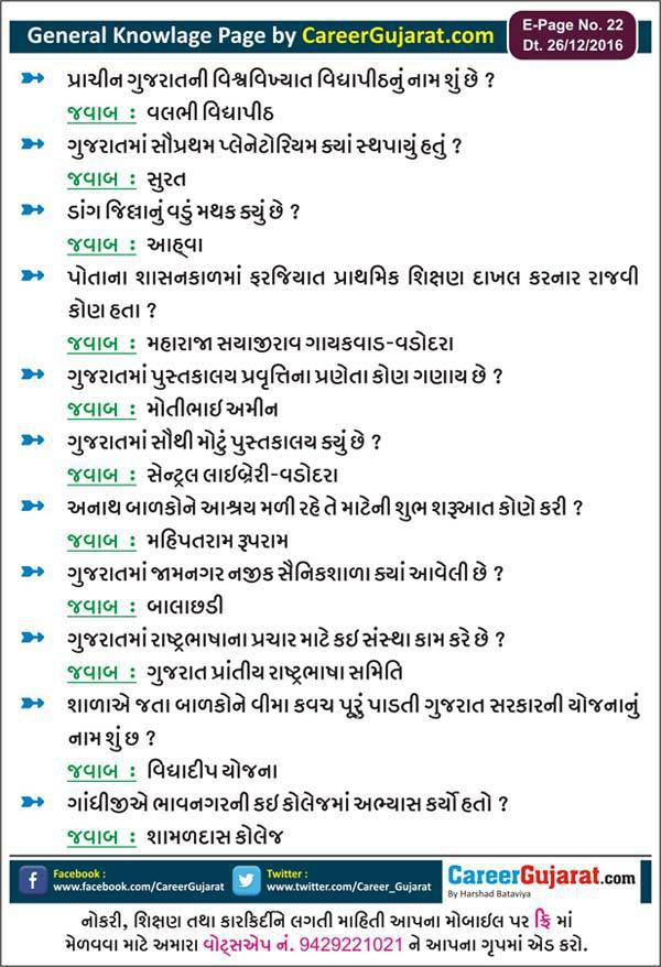 General Knowledge Page by Career Gujarat