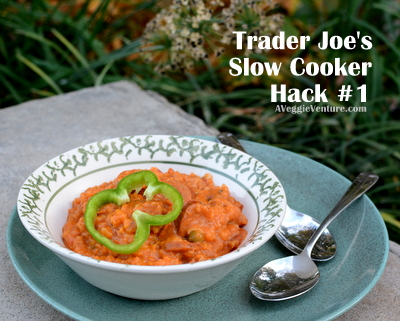 Trader Joe's Slow Cooker Hack #1 ♥ AVeggieVenture.com, 4 Trader Joe's products + 1 can tomatoes + slow cooker = Easy Jambalaya.