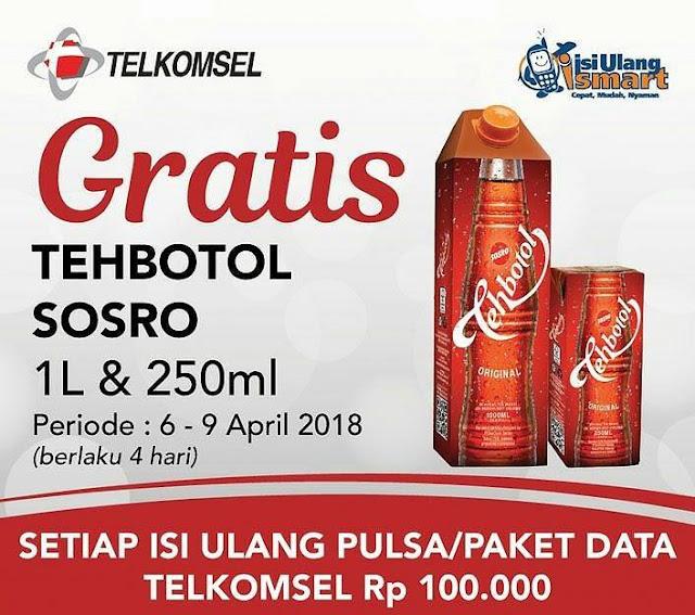 Telkomsel Rp 100.000 GRATIS Tehbotol Sosro 1L dan 250ml
