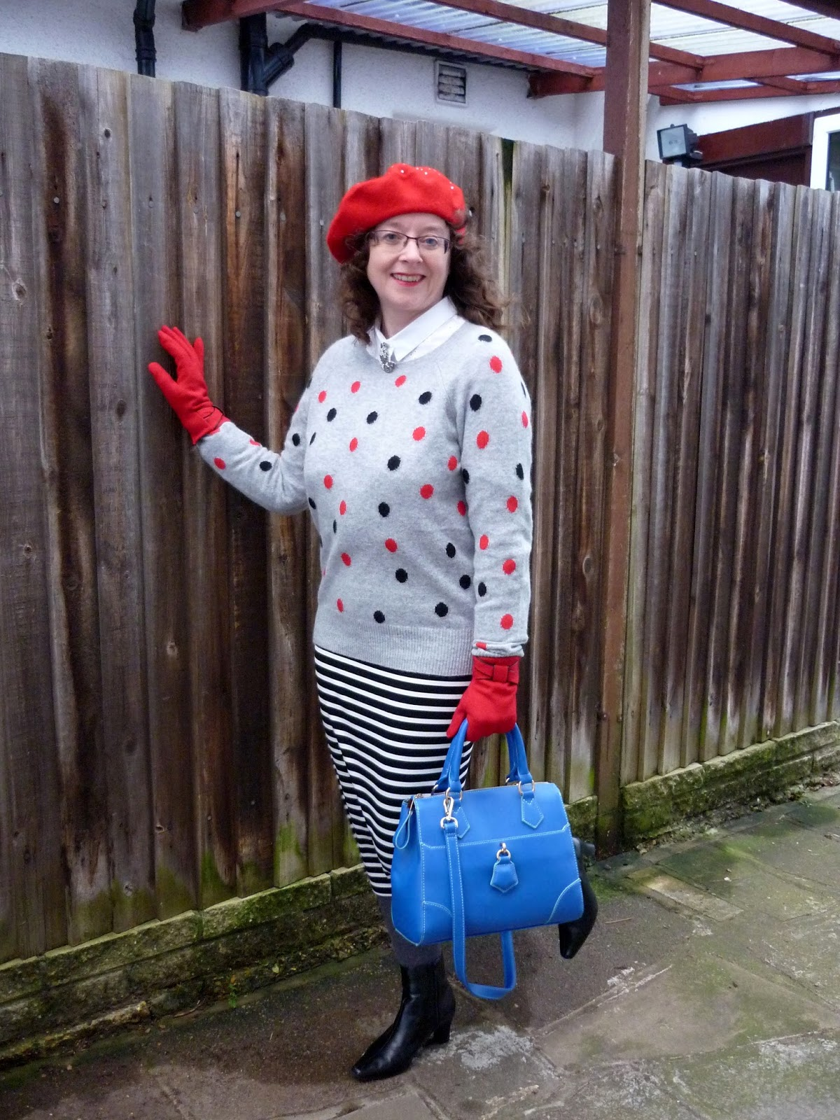 Black/White Striped Midi Pencil Skirt, Red/Black Polka Dot Jumper, Cobalt Blue Bag, Red Gloves & Beret | Petite Silver Vixen
