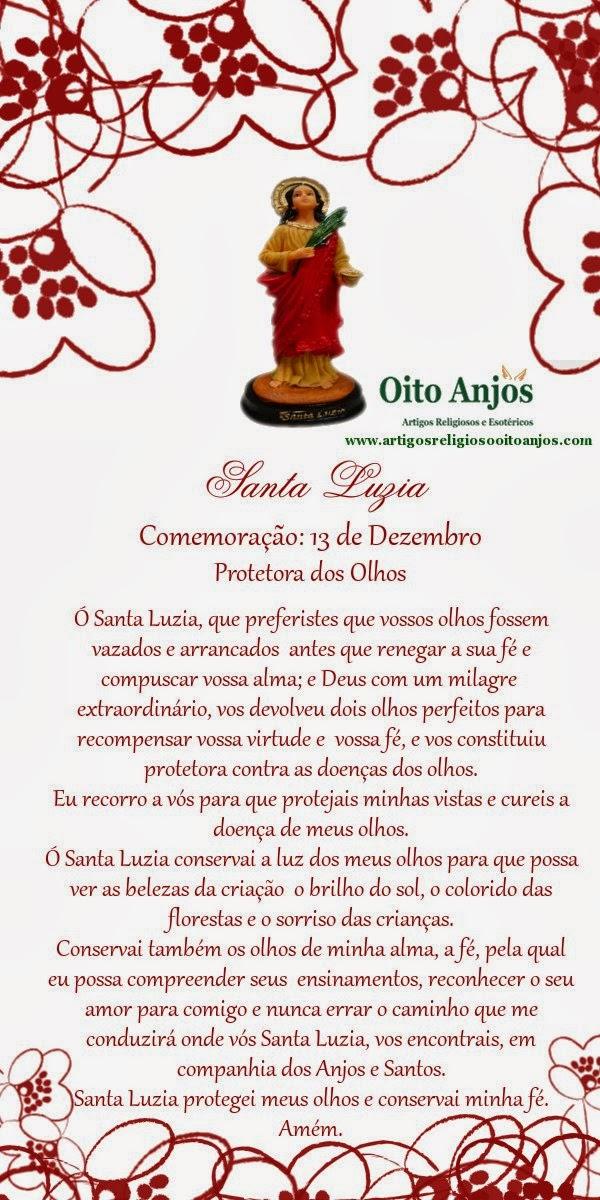 Oração Santa Luzia  * Oito Anjos Artigos Religiosos e Loja Esotérica