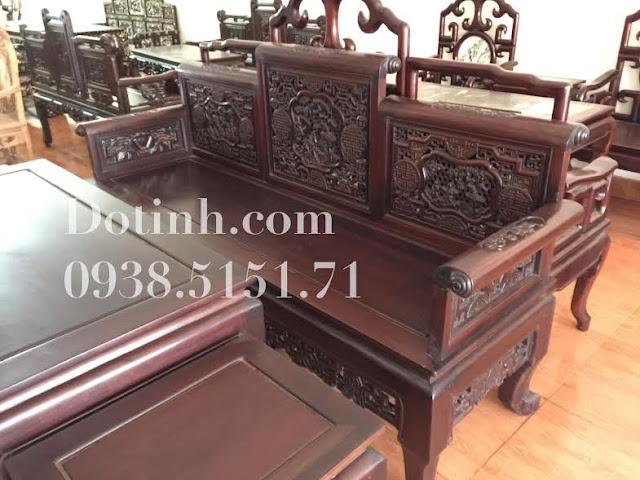 Trường Tam Sơn vai lật - Bộ trường kỷ gỗ gụ cổ