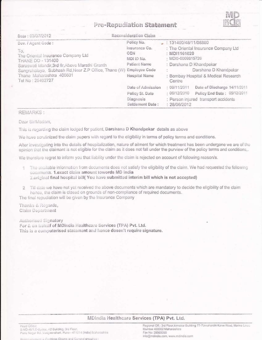 Rajesh Haldipur S Web Log Oriental Insurance Rejects Mediclaim