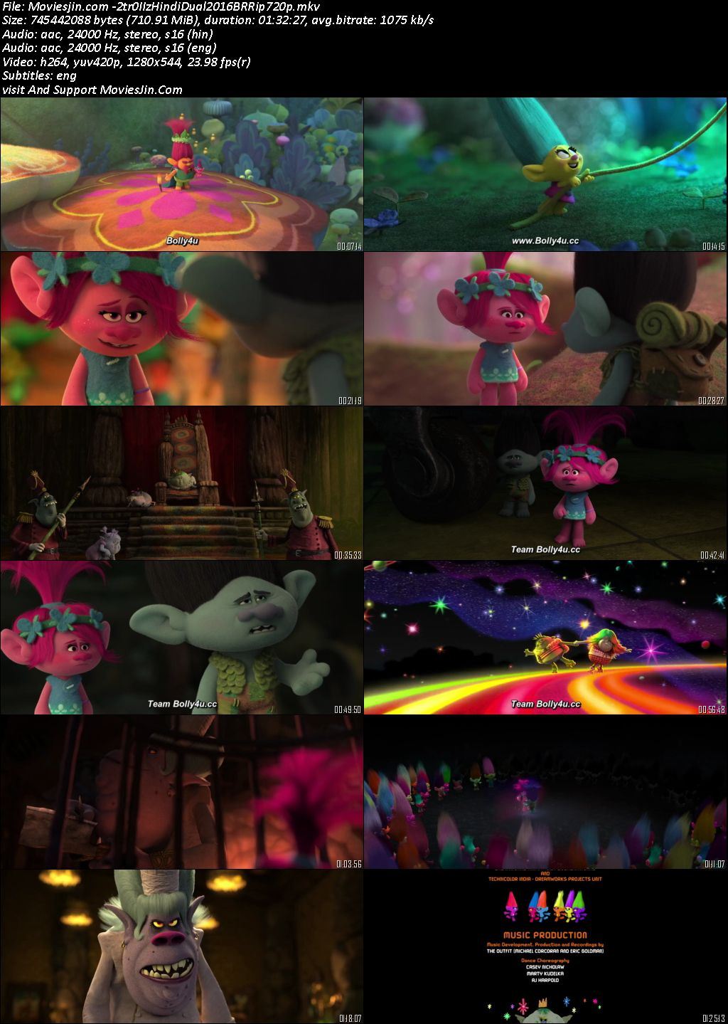 Trolls 2016 BluRay Download Hindi Dual Audio ORG 720p