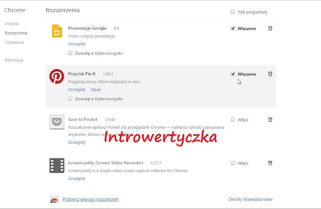 Chrome - Rozszerzenie Pin it!