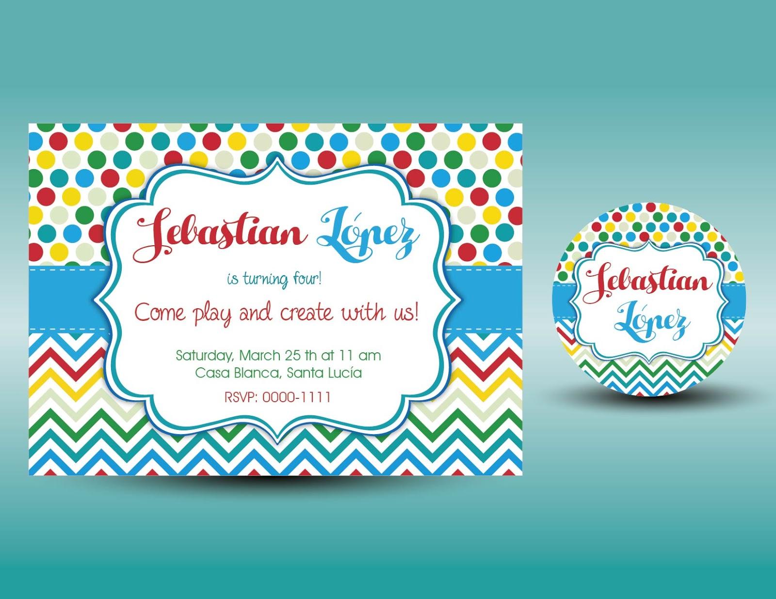 Lmgraficos Tarjeta De Invitacion Para Niños Colorida Gratis