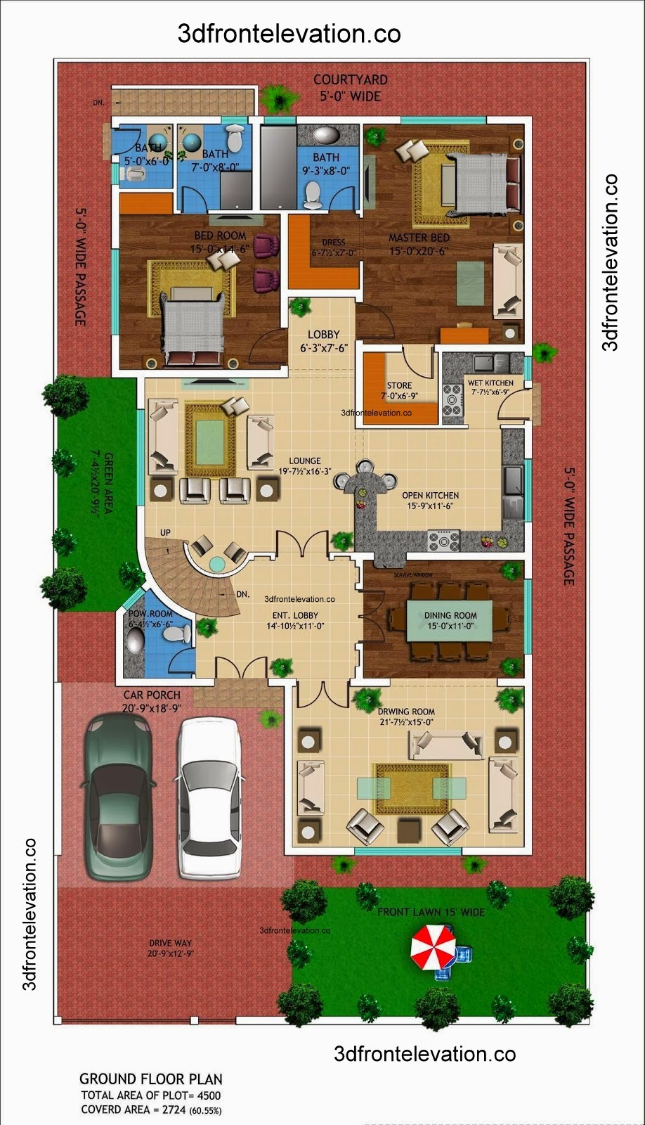 3D Front Elevation.com: 1 kanal house drawing , floor plans ... - ^