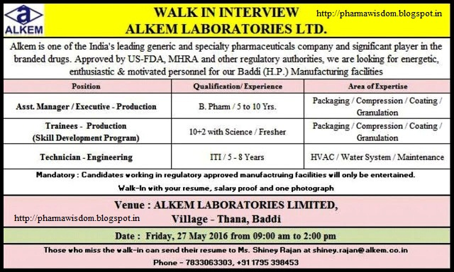 Alkem Laboratories Ltd Walk In Interviews For Multiple