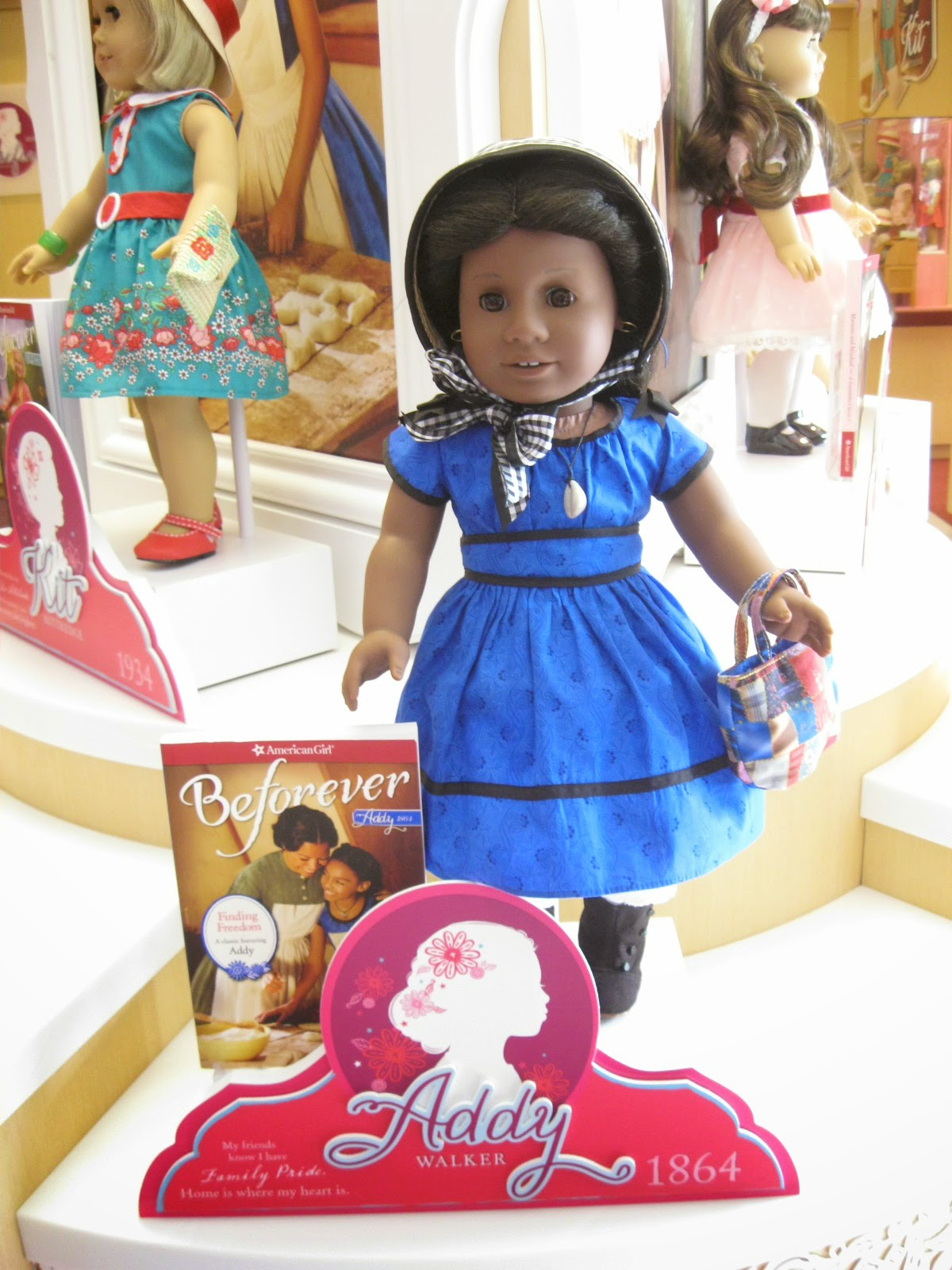 New American Girl Addy Blue Dress /& Gingham Ribbon~NO Flower Bouquet~Caroline