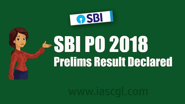 SBI PO Prelims Exam 2018 Result