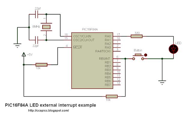 pic16f84a external interrupt ccs picc