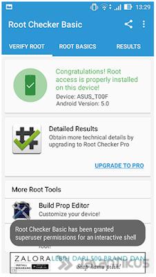 Tampilan Root Cheker pabila Device sudah teRoot