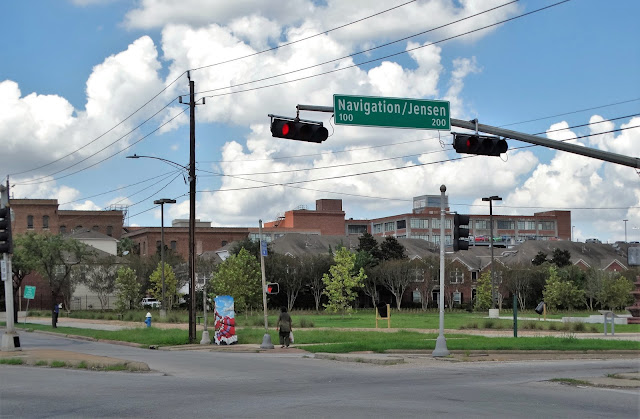 Guadalupe Plaza Park NW corner at intersection of Navigation / Jensen Dr. / Runnels