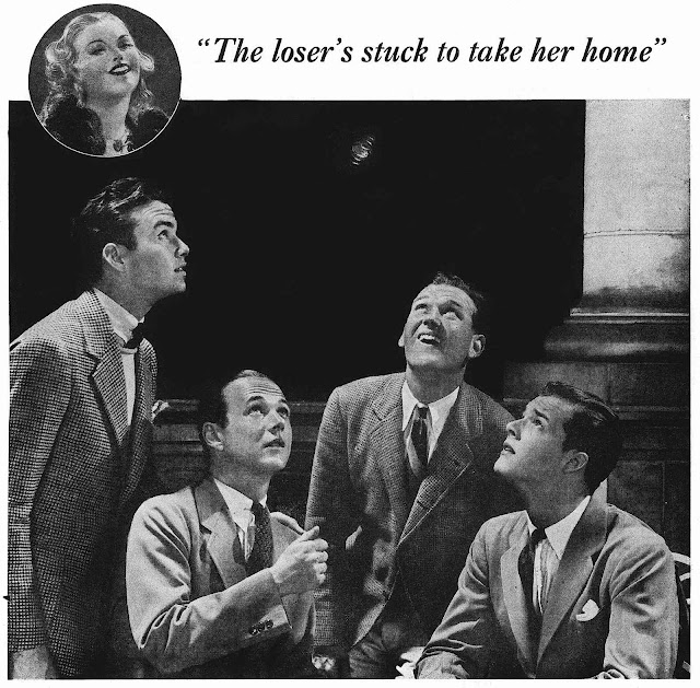the loser's stuck to take her home, 1930s breath advertisement photograph