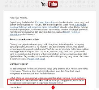 Tips Mengaktifkan Kembali Akun Youtube Yang Terkena Penangguhan/Dinonaktifkan