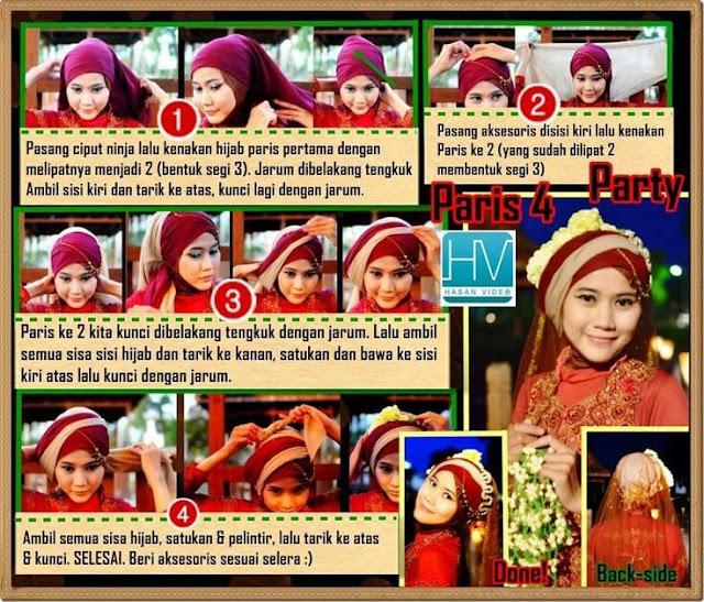 Tutorial Hijab memakai Jilbab Paris Segi Empat untuk Resepsi Pesta Pernikahan cocok juga untuk Akad Nikah