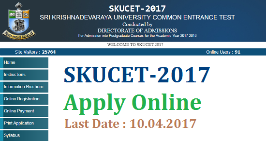 SKUCET 2017 Sri Krishnadevaraya University PG Entrance Test Notification Apply Online @skudoa.in | Online Application Form for SKUCET 2017 available here at http://skudoa.in an Officail Website for Sri Krishnadevaraya University located in Ananthapuramu District in the State of Andhra Pradesh | The Said University has issued Notification for Entrance Test for the Candidates who are seeking Admission in Post Graduate Courses M.A , M.Sc, M.Com, M.Ed and M.P.Ed for the Academic year 2017-18 | Eligible candidates may Apply through Online mode only | Register Online for this Entrance Test SKUCET 2017 by Paying Fee Rs.400/- | Here is the Schedule for the whole Process skucet-2017-sri-krishnadevaraya-university-pg-admissions-entrace-test-notification-apply-online-skudoa