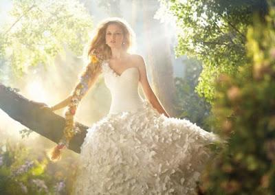 vestido noiva princesa disney wedding dress rapunzel simples borboleta diferente moderno uma alça ombro
