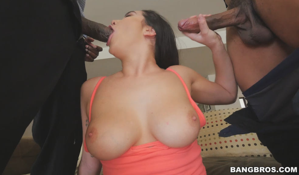 Karlee grey takes a hot load of cum on her huge tits 5