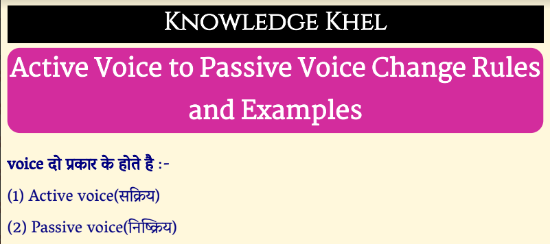 Active Voice to Passive Voice Change Rules and Examples