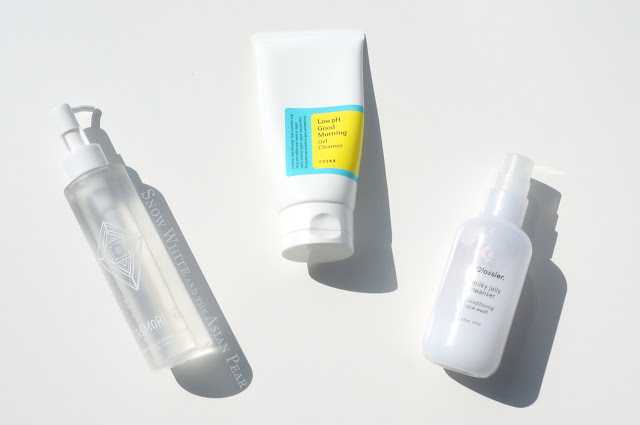Cremorlab Gel Oil cleanser, Cosrx Low pH cleanser, Glossier Milky Jelly cleanser