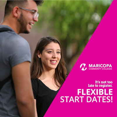 Image of a male and female Maricopa Colleges students smiling.  Text: It's not too late to register.  FLEXIBLE START DATES!
