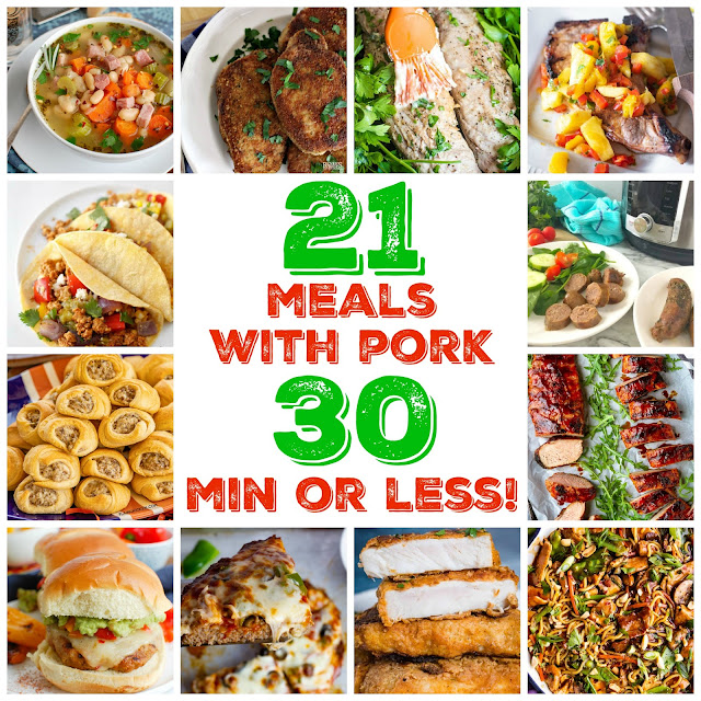 Pork is one of the most versatile meats out there and there are so many cuts to choose from. The best part is - you can have a bunch of options - all on the table in 30 minutes or less! Whether it's #groundpork #ham #bacon #sausage #porkchops or #porkloin - you'll love all of these amazing ideas for your #mealplan!