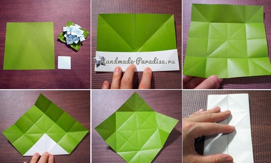 Гортензия из бумаги в технике оригами (6)