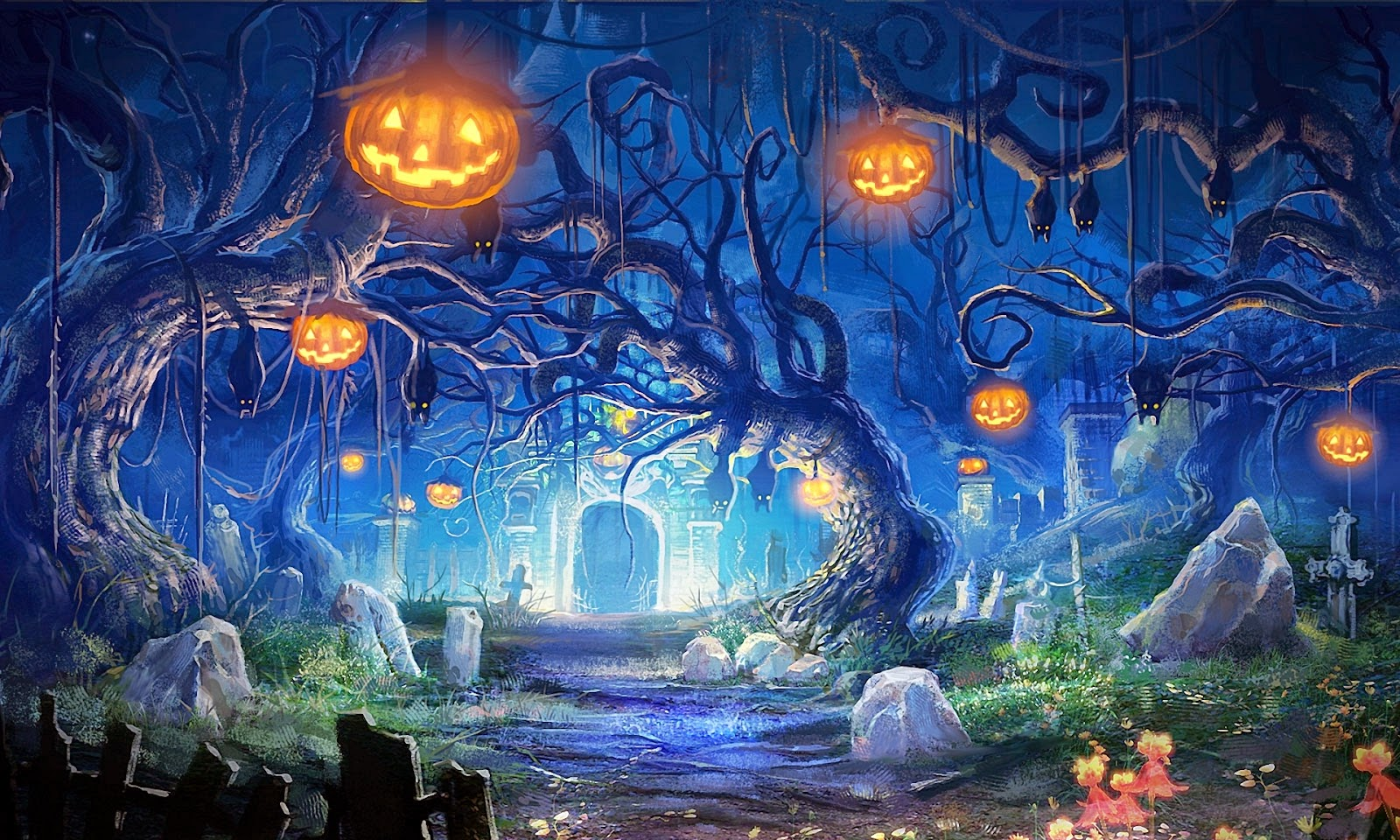 Halloween-night-decoration-house-image-paintings-HD-wallpapers.jpg