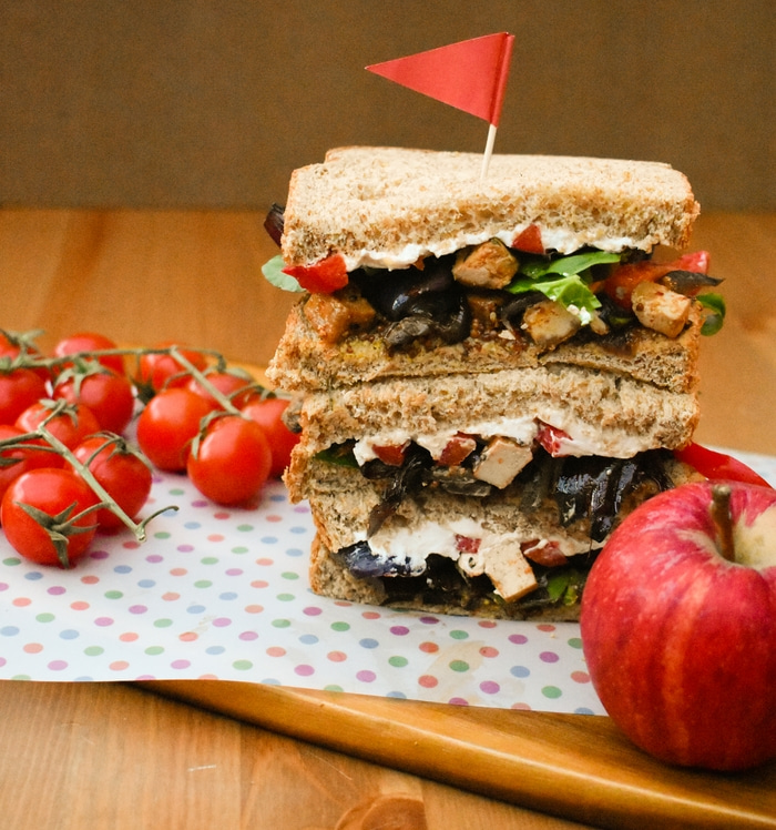 Roasted Vegetable and Tofu Sandwiches. A recipe for luxurious veggie sandwiches. Soft wholemeal bread filled with mustard, salad leaves, roasted vegetables and tofu and cream cheese, plus a meal prep guide.