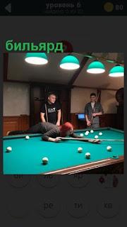 в помещении происходит игра в бильярд между соперниками