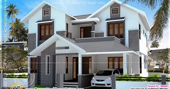 2200 Sq Feet Modern Sloping Roof House With Cost Home