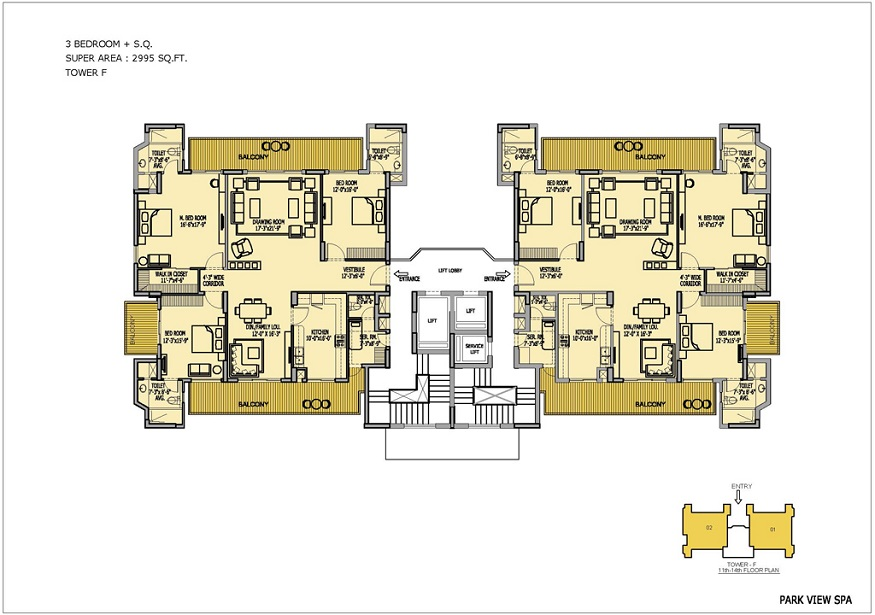 Floor Plan of Ready to Move 3 BHK + SR / 2995 Sq.Ft. Luxury Apartments in Bestech ParkView Spa, Sector-47, Gurgaon