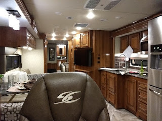view of class A motorhome kitchen area