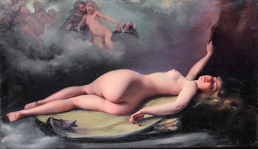 Mujer sensual y desnuda sueña con pasajes eróticos
