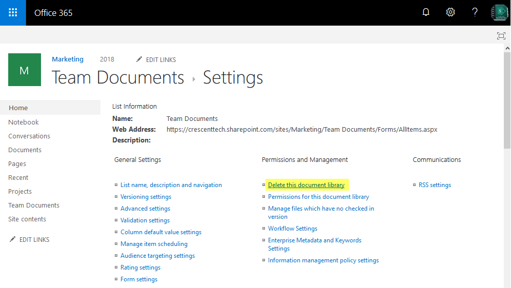 delete document library sharepoint online powershell