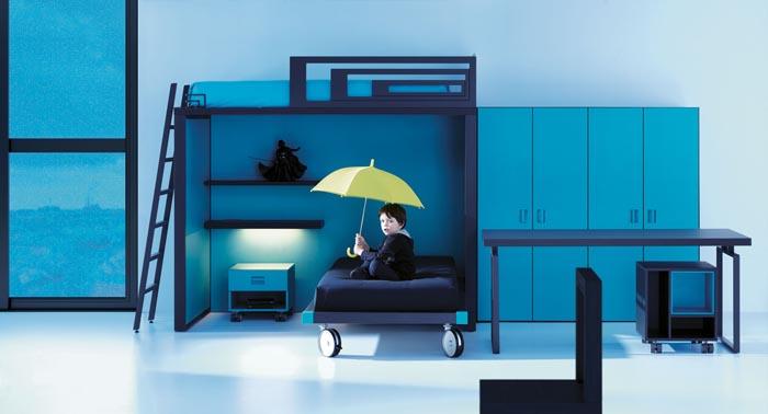 Cama alta moderna life box con laterales met licos para - Cama litera con escritorio debajo ...