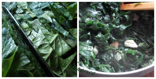 Medallions with spinach and fioli by Laka kuharica: sauté spinach with garlic