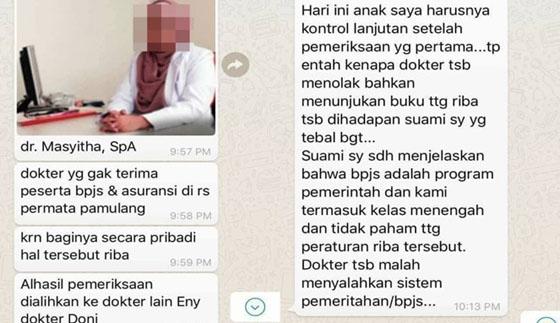Viral, Dokter Menolak Pasien Karena Gunakan BPJS Alasannya Takut Haram