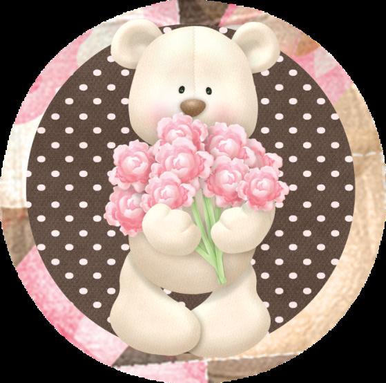 Toppers o Etiquetas de Osito con Rosas para imprimir gratis.