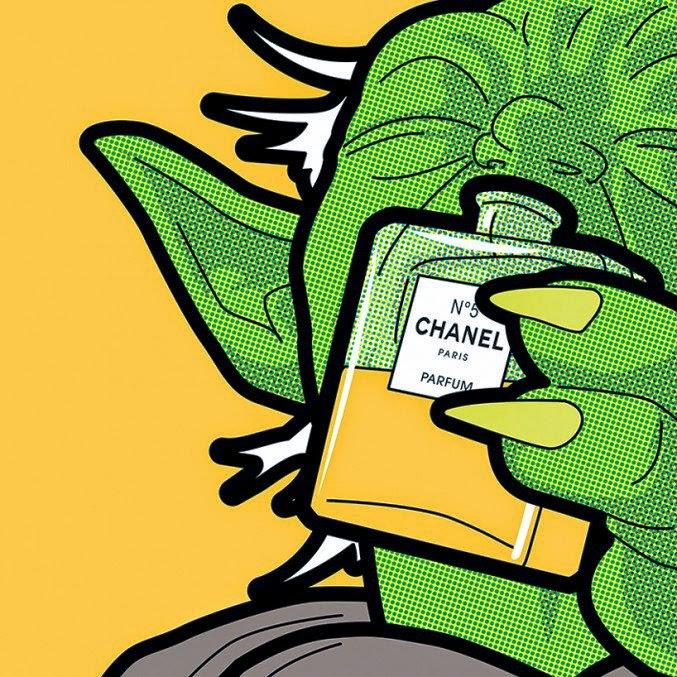 ilustración de super héroes cultura pop maestro yoda