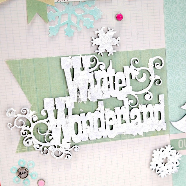 Winter Wonderland Frosty Finish Chipboard Title on Snow Day Scrapbook Layout