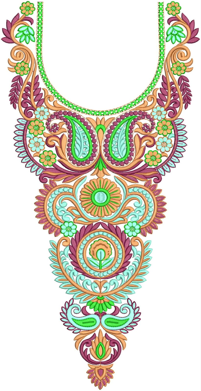 Embdesigntube gorgeous neck designs collection for Embroidery office design version 7 5