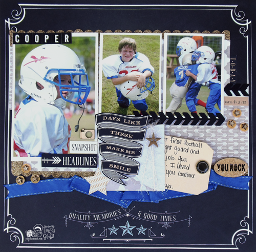 Masculine Sports layout by Tonya A. Gibbs using Teresa Collins Memorabilia line.  #12x12 #Scrapbooking #TonyaGibbs #Psychomoms #Layout