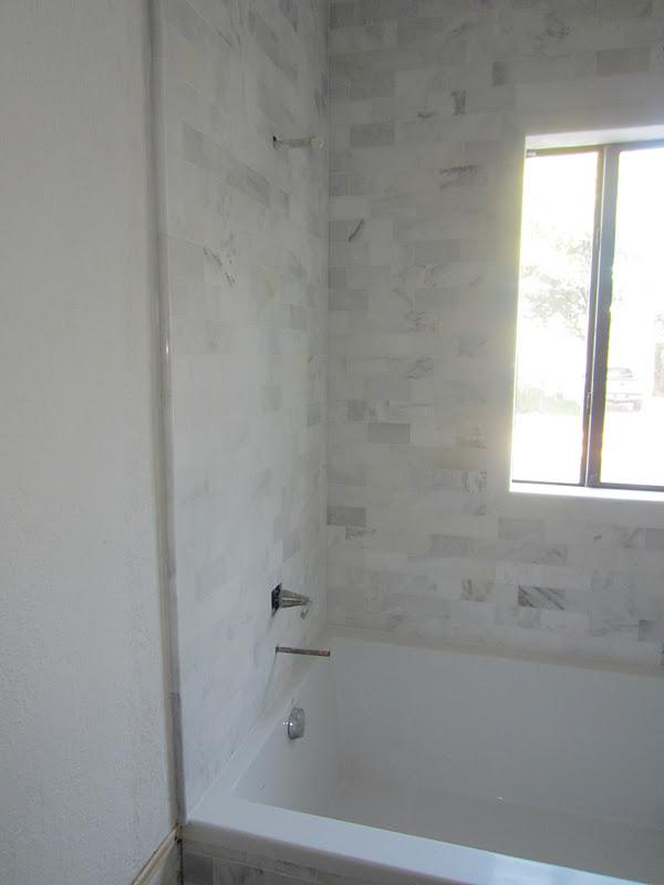 The Cuban In My Coffee Master Bathroom Progress Carrara Marble Mosaic Tiles