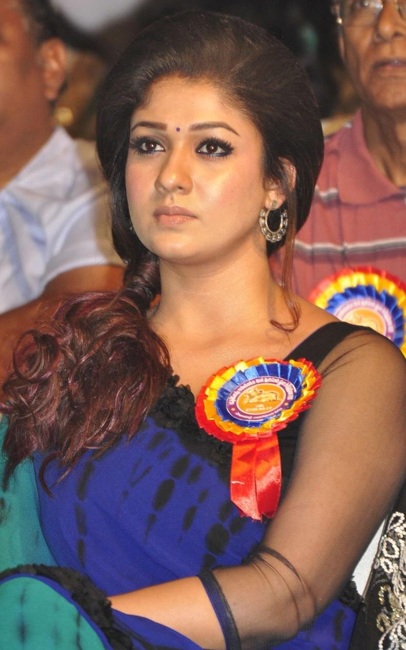 Nayantara Latest Photos In Spicy Blue Saree