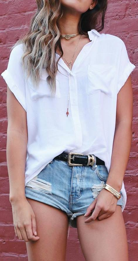 street style outfit idea: shirt + shorts