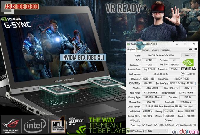 ASUS ROG GX800 juga menggunakan dual graphics Nvidia kasta tertinggi yaitu Nvidia GTX 1080 SLI