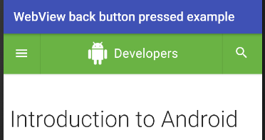 android - WebView back button pressed example