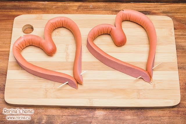 Сосиски-сердечки: идеи на День святого Валентина